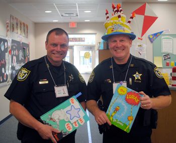 Lake County Sheriff's Office Chief Deputy Peyton Grinnell and Lt. Chris DeLibro were guest readers at Tavares Elementary.