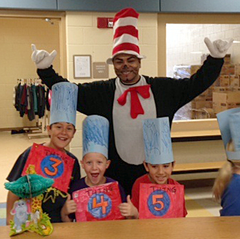 Martin Nazario, Third Grade Teacher at Grassy Lake Elementary, helped lead the Dr. Seuss parade.